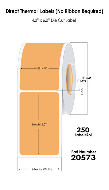 """Direct Thermal White 4"""" x 6"""" (1UP) 250 Labels/Roll Sold by Durafast Label Company"""