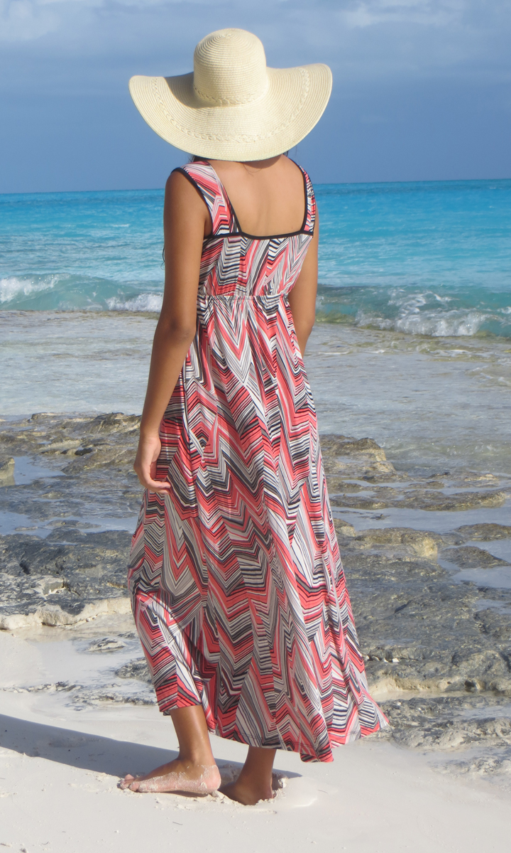 Zig Zag Long Wrap Dress