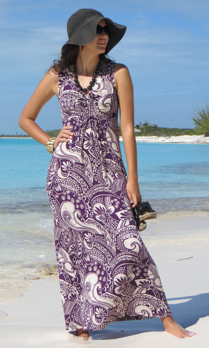 Eggplant Paisley Long Twist Dress