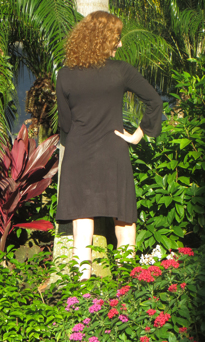 Black Jersey Bell Sleeve Dress