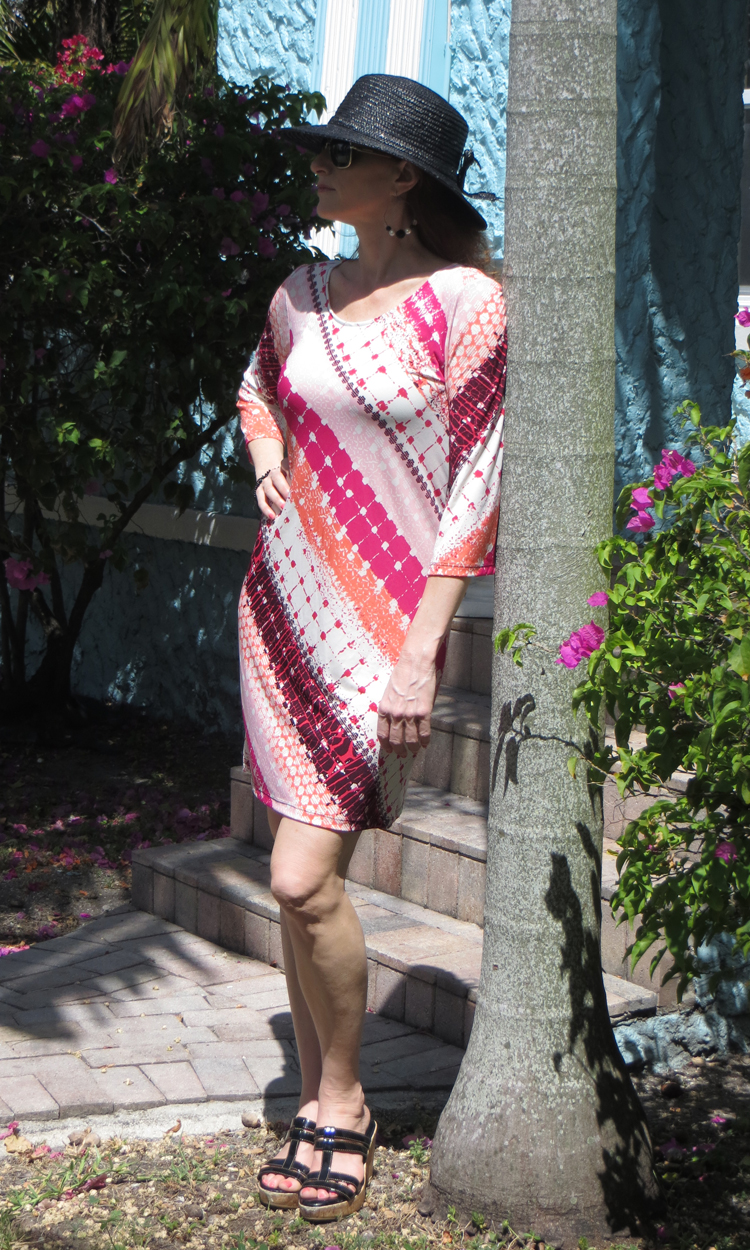 Coral Crosshatch 3/4 Sleeve Dress