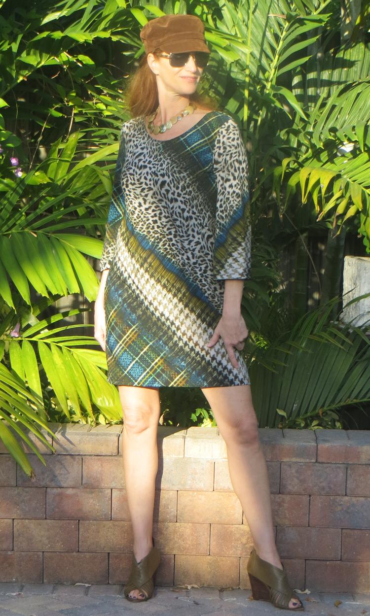 Checkered Cheetah 3/4 Sleeve Dress