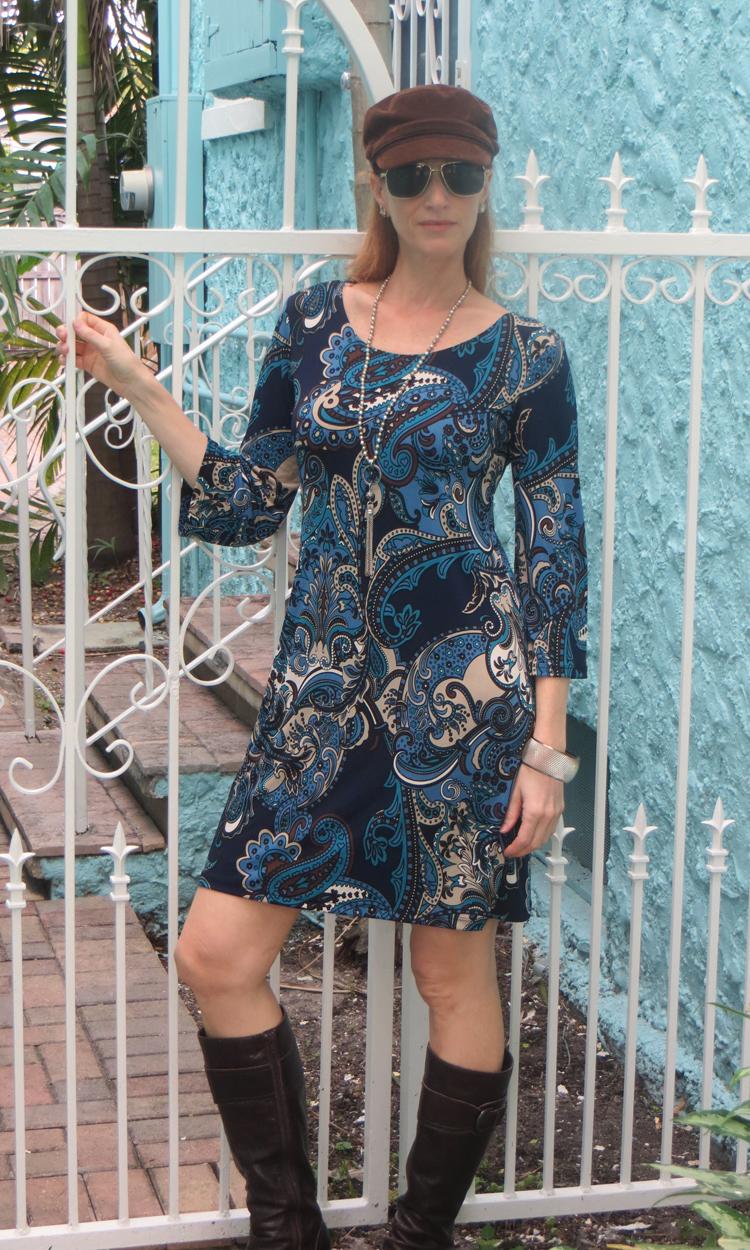 Navy & Cocoa Paisley 3/4 Sleeve Dress