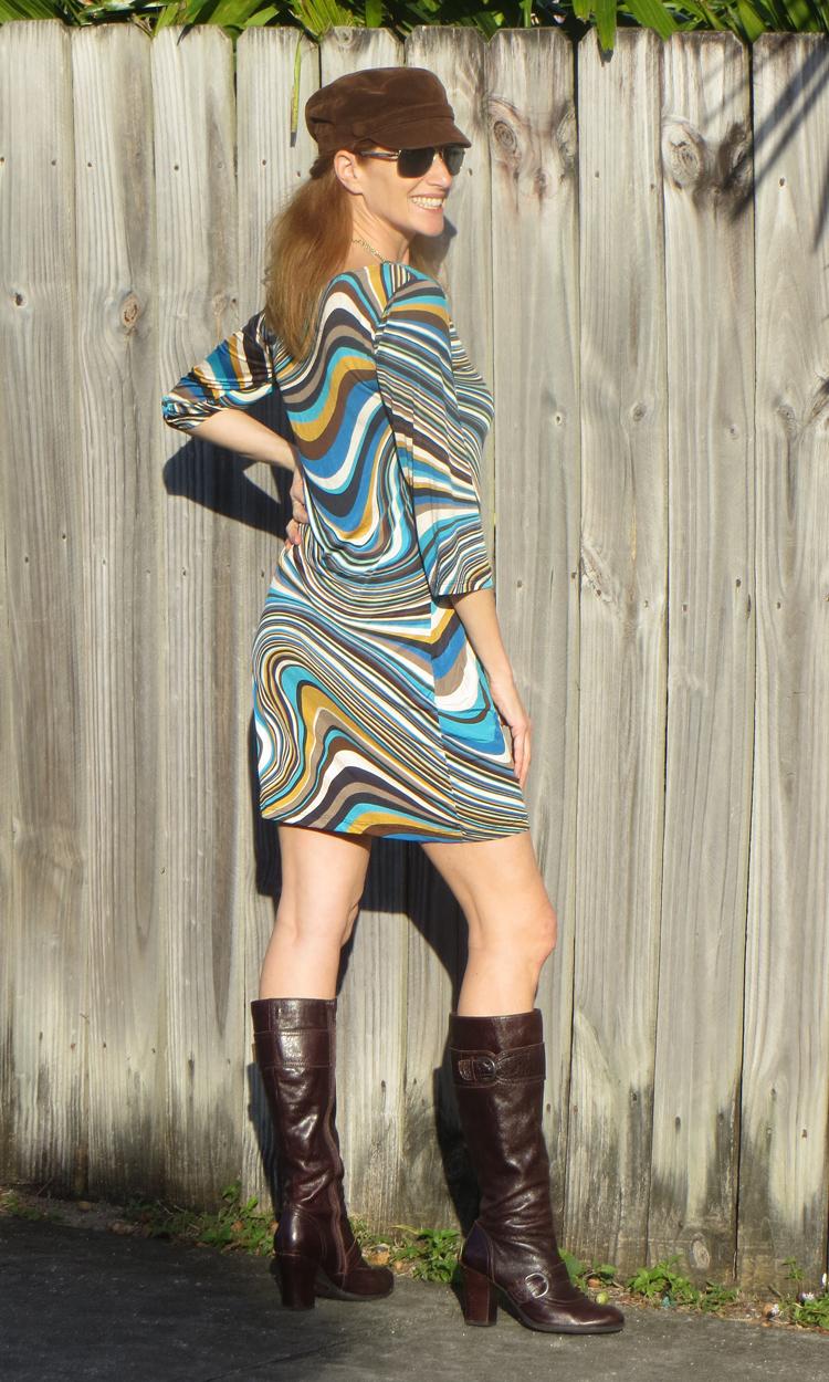 Blue Swirls 3/4 Sleeve Dress