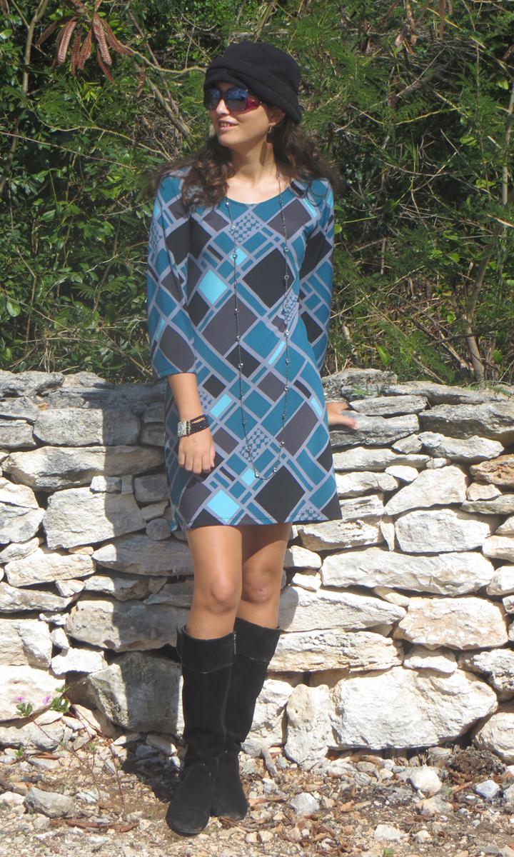 Teal Squared 3/4 Sleeve Dress