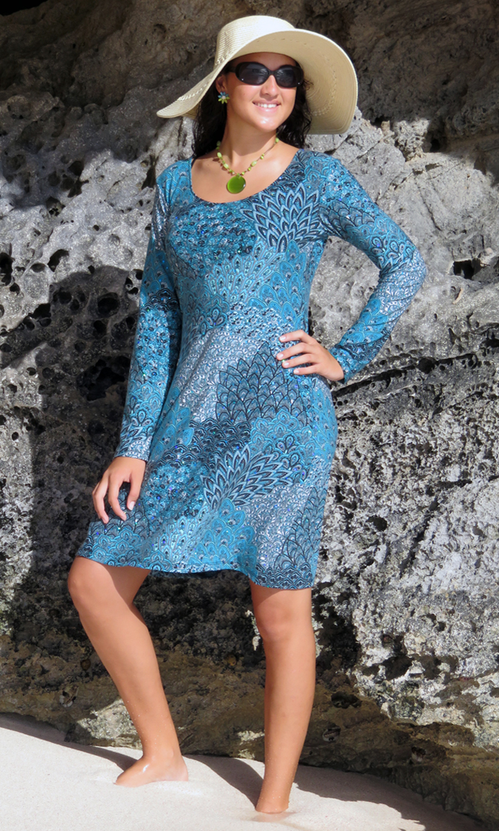 Sparkling Peacock Long Sleeve Trapeze Dress