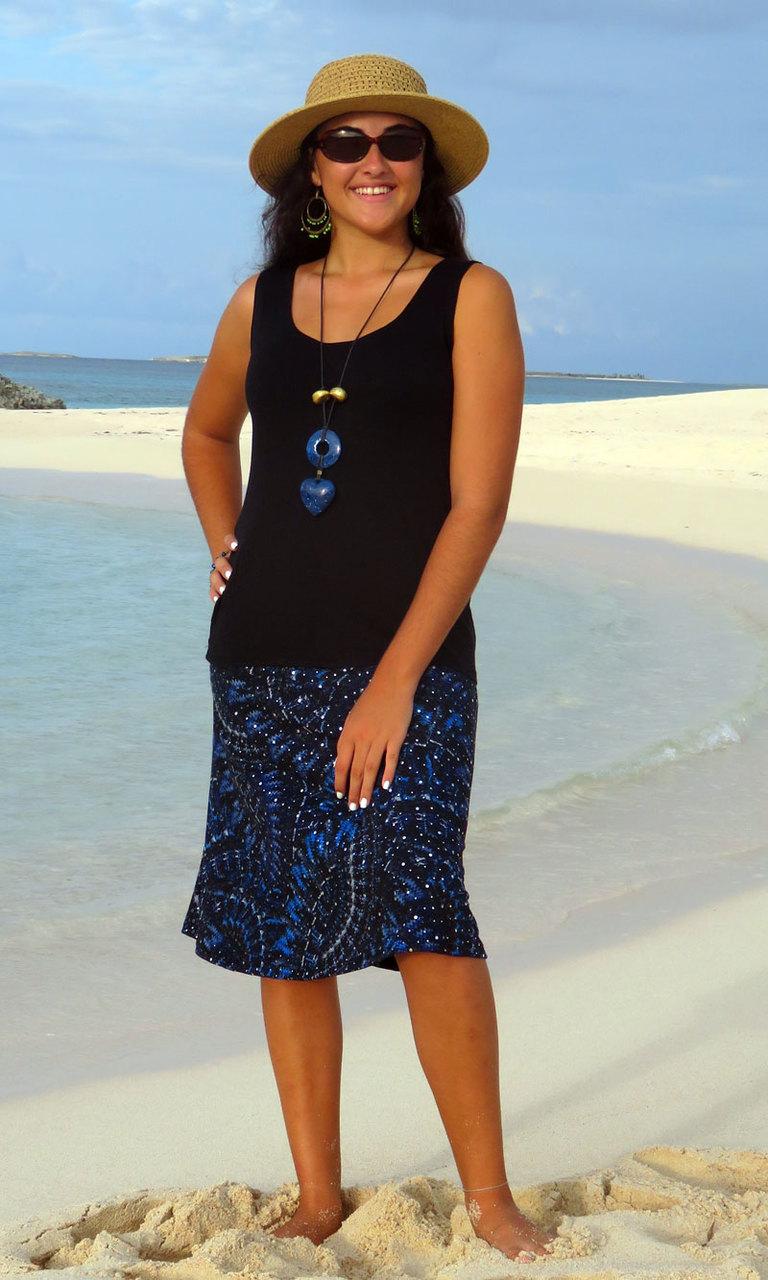 Navy Grecian Sparkle  Short Convertible Skirt