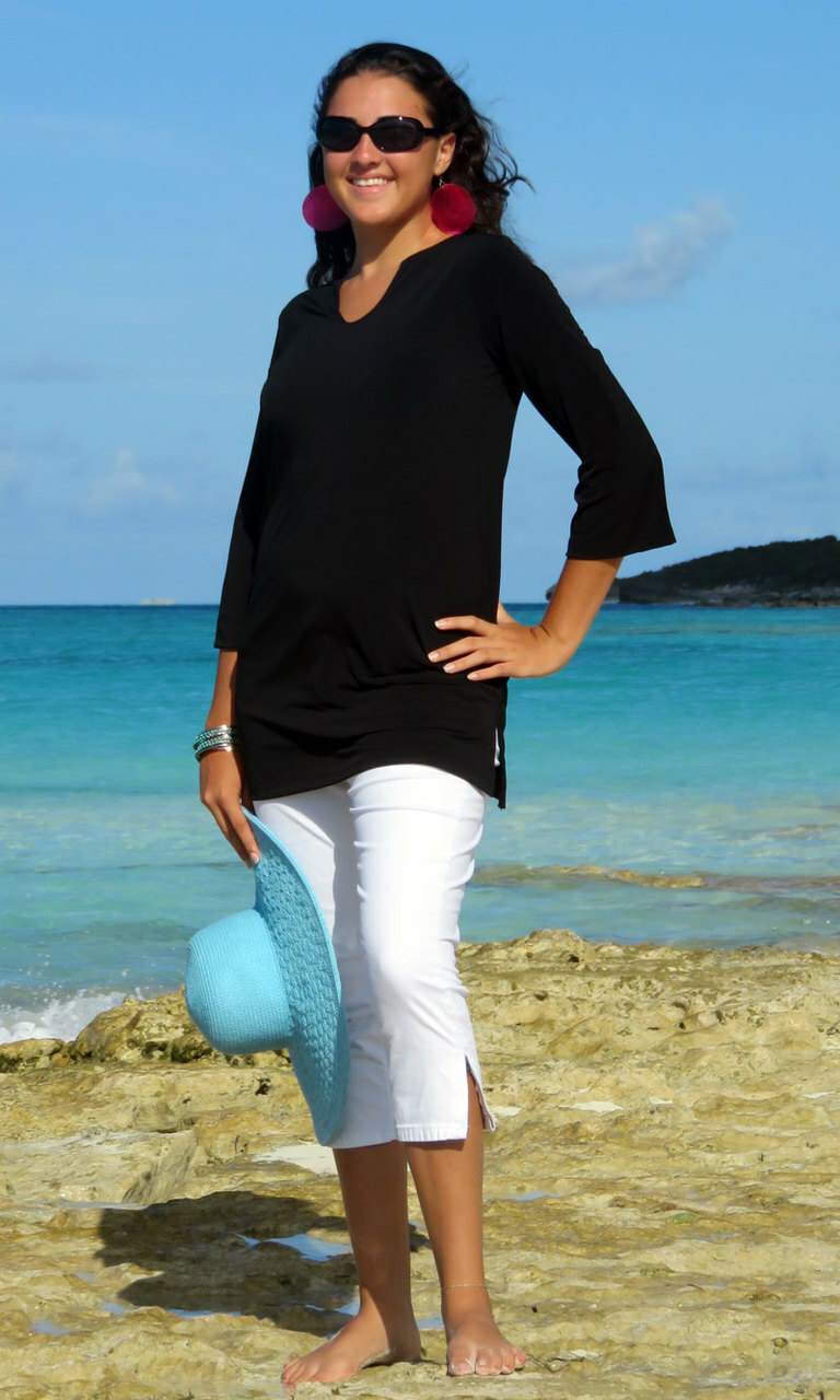 Solid Black Poly Blend V-Notch Tunic