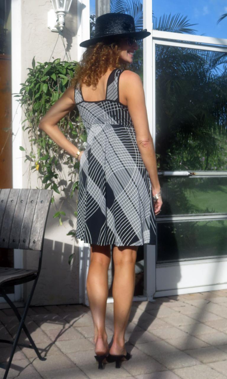 Black & White Cross Hatch Short Wrap Dress