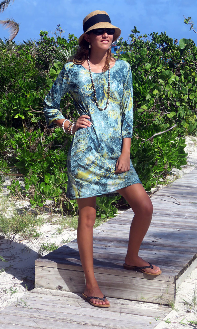 Sage Paisley 3/4 Sleeve Dress