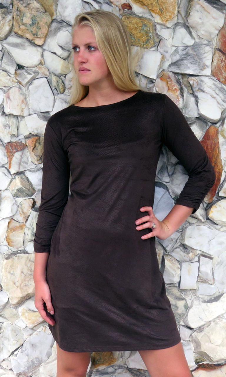 Embossed Sueded 3/4 Sleeve Julie Dress
