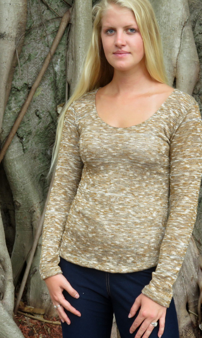 Slub Yarn Long Sleeve Trapeze Top