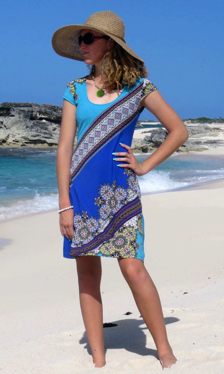 Blue Dharma Cap Sleeve Dress