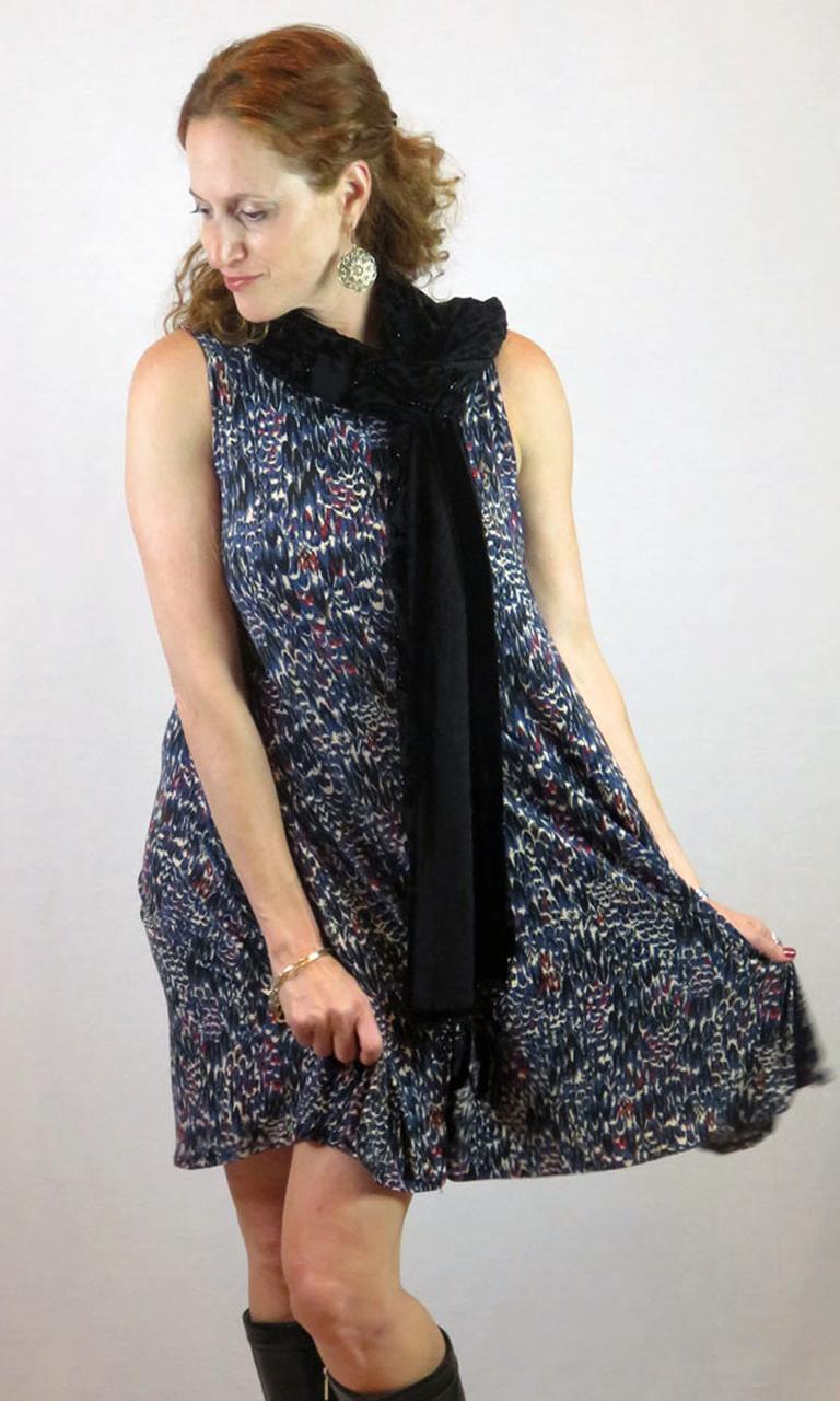 Cobalt Feathers Swing Dress