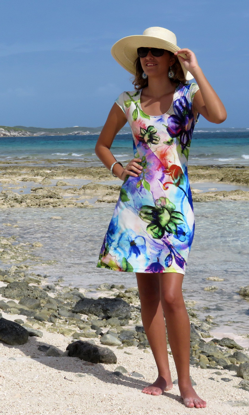 Water Whimsy Cap Sleeve Dress