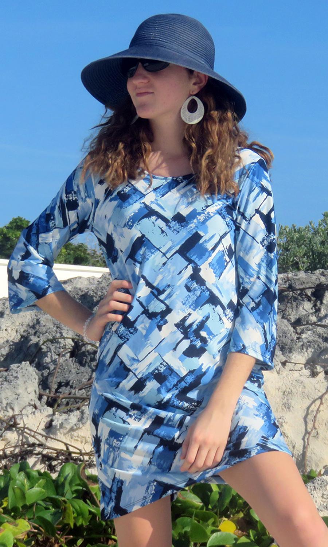 Azure Abstract 3/4 Sleeve Dress