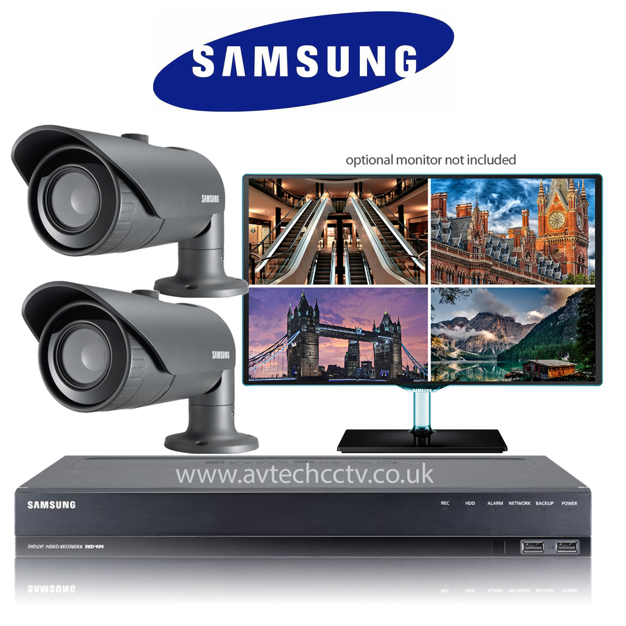 2 Samsung CCTV Wisenet HD Security Camera system with Bullet Vari lens