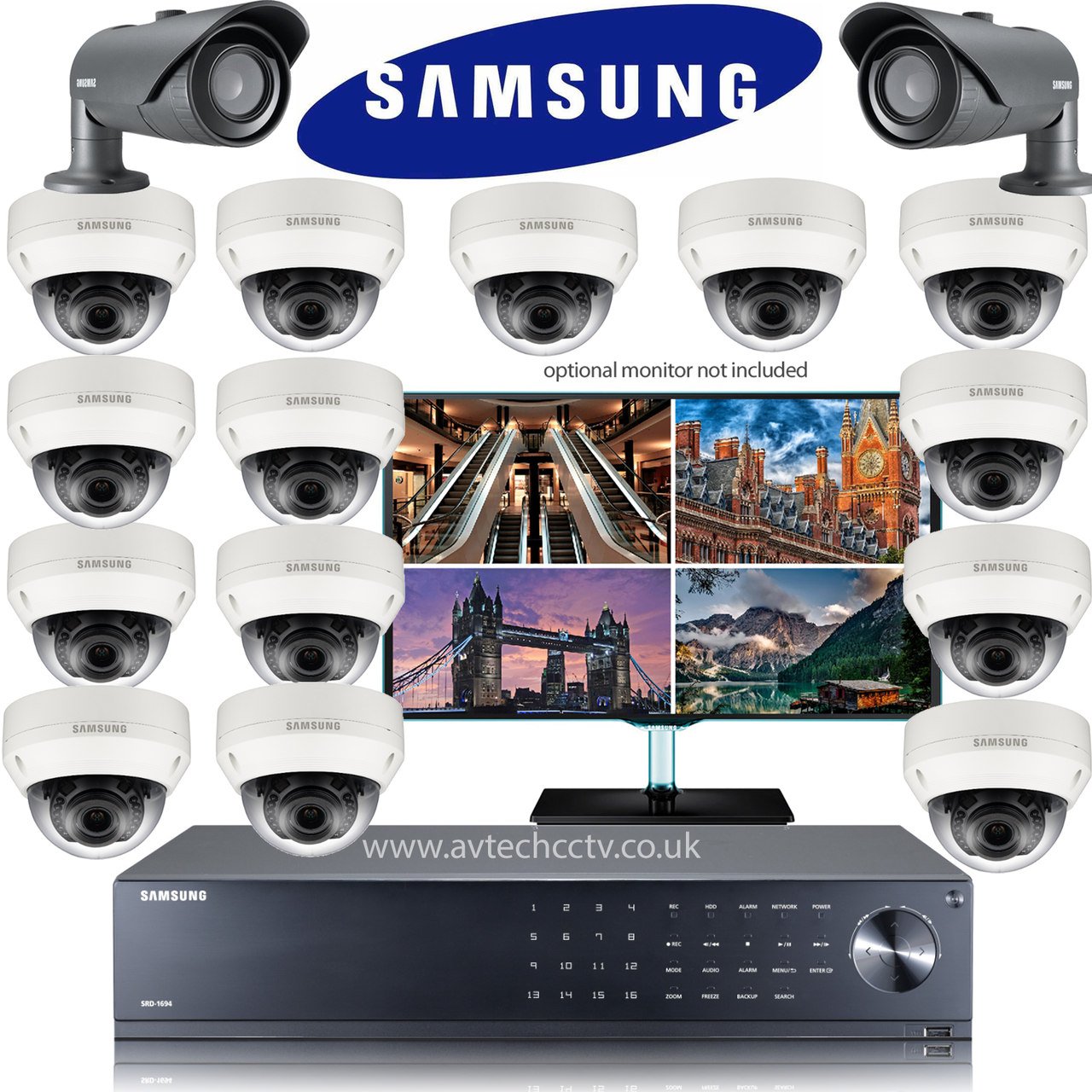 16 Samsung CCTV Wisenet HD Security system with Bullet Vari lens