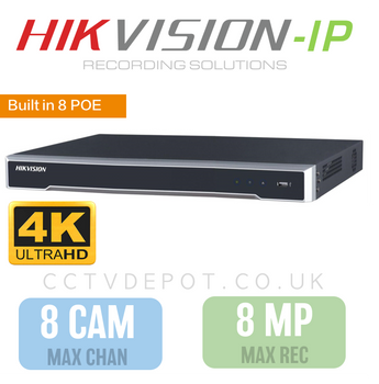 Hikvision PRO 8 Channel NVR with 4K-HD 8MP Compatibility and 8 POE Ports