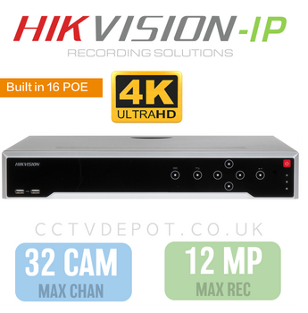 Hikvision PRO 32 Channel NVR with upto 4KHD -12MP- Compatibility and 16 POE Ports