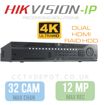 Hikvision PRO 32 Channel NVR with 12MP Compatibility, RAID HDD  + PRO 320Mbs Bandwidth