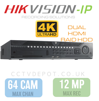 Hikvision PRO 64 Channel NVR with 12MP Compatibility, 8 RAID HDD  + PRO 320Mbs Bandwidth