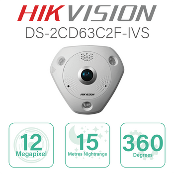 Hikvision Fisheye IP with 12MP and 15m Nightrange DS-2CD63C2F-IVS