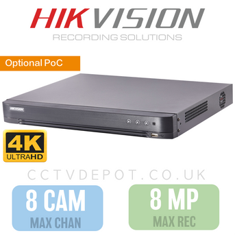 Hikvision HD TVI 8 channel Digital Video Recorder upto 4K HD 8MP Recording