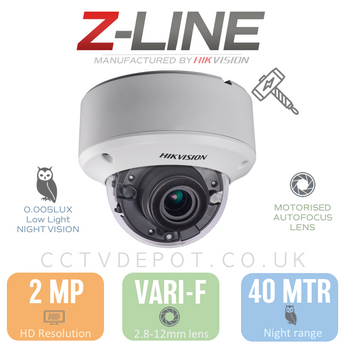 Hikvision PRO Vandal Dome with 2.8-12mm Autofocus Zoom lens + Darkfighter
