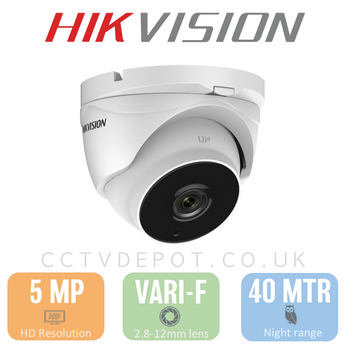 Hikvision HD TVI 5MP Turret Vari-focal 2.8-12mm with 40M Darkfighter and PoC