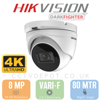Hikvision TVI 8MP 4K-HD Turret Vari-focal 2.8-12mm Lens with 60M Night