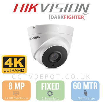 Hikvision TVI 8MP 4K-HD Turret Fixed Lens 2.8mm with 60M Night