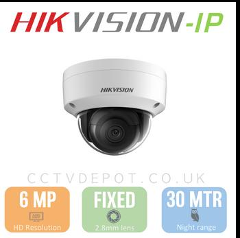 Hikvision IP 6MP Vandal Dome Camera with 2.8mm Lens, EXIR 30M, POE & Smart VCA