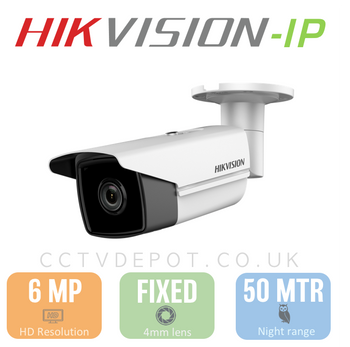 Hikvision IP 6MP Bullet Camera with 4mm Lens, EXIR 30M, POE & Smart VCA