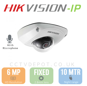 Hikvision IP 6MP Mini Dome with 2.8mm Lens, EXIR 10M, POE & Smart VCA with Microphone