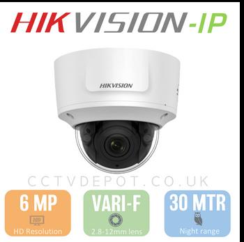 Hikvision IP 6MP Vandal Dome with 2.8-12mm Motorised Lens, EXIR 30M, POE & Smart VCA