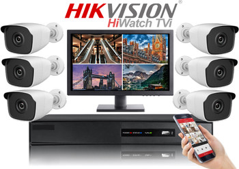 Hikvision Hiwatch HD 1080P 6 Camera Bullet CCTV System