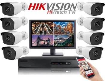Hikvision Hiwatch HD 1080P 8 Camera Bullet CCTV System