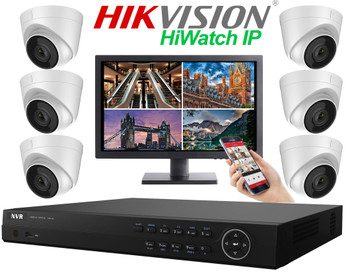 Hikvision Hiwatch 4MegaPixel PRO IP 6 Camera Dome CCTV System