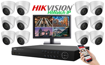 Hikvision Hiwatch 4MegaPixel PRO IP 12 Camera Dome CCTV System
