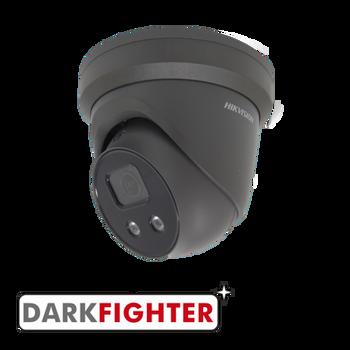 HIKVISION DS-2CD2346G2-ISU/SL(2.8MM)GREY AcuSense 4MP fixed lens Darkfighter turret camera with IR, built-in speaker & alarm