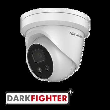 HIKVISION DS-2CD2346G2-ISU/SL(2.8MM) AcuSense 4MP fixed lens Darkfighter turret camera with IR, built-in speaker & alarm