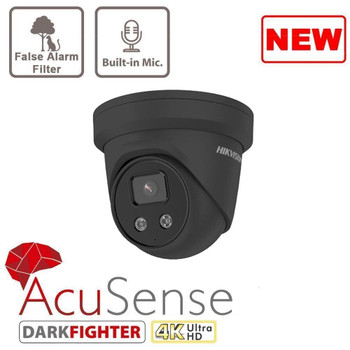 HIKVISION DS-2CD2386G2-IU(2.8MM) Black AcuSense 8MP fixed lens DarkFighter turret camera with IR & built in mic