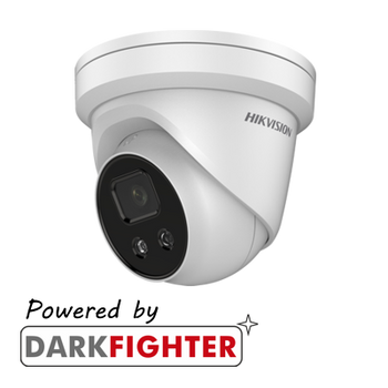 HIKVISION DS-2CD2346G2-IU(2.8MM) AcuSense 4MP fixed lens Darkfighter turret camera with IR and built-in mic