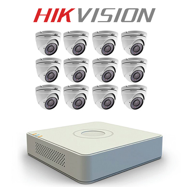 12 Hikvision home security system with IR CCTV Dome Cameras