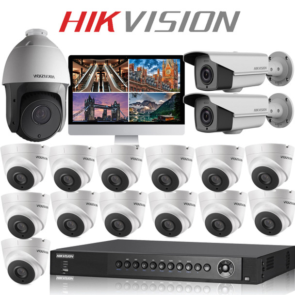16 Hikvision 5MP CCTV camera kit with PTZ & FULL HD DVR Recorder