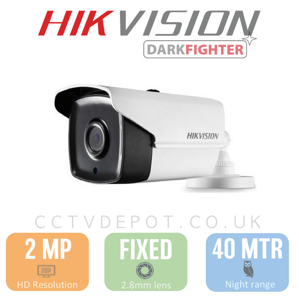 Hikvision HD TVI 2MP Bullet Fixed Lens 3.6mm with 40M Night PoC