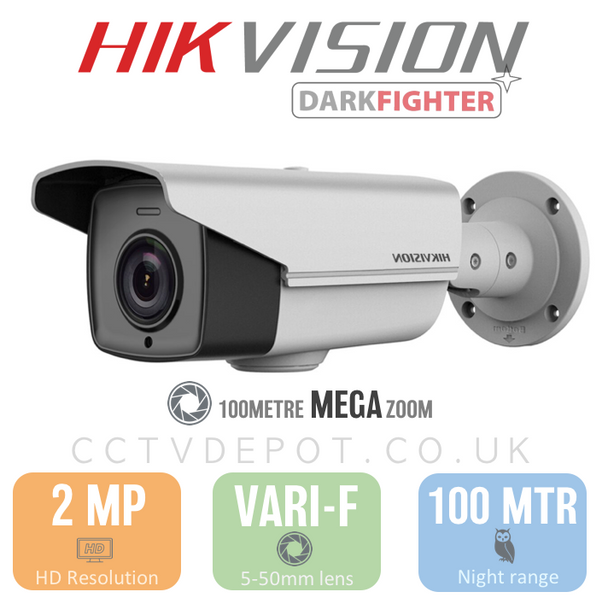 Hikvision HD TVI PRO 100Metre Bullet Vari-Focal 5-50mm Mega Zoom Camera