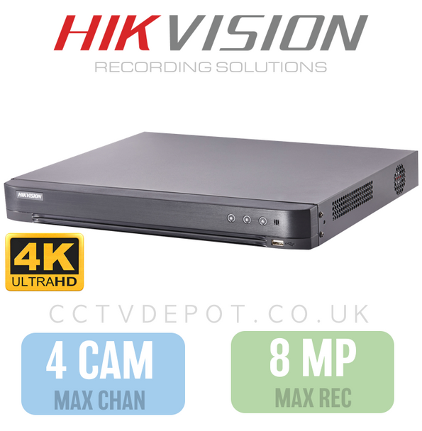 Hikvision HD TVI 4 channel Digital Video Recorder upto 4K HD 8MP Recording