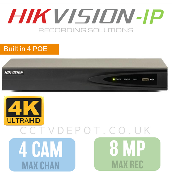 Hikvision PRO 4 Channel NVR with 4K-HD 8MP Compatibility and 4 POE Ports
